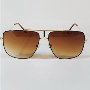 Other - Brown Lens Large Square Aviator Sunglasses